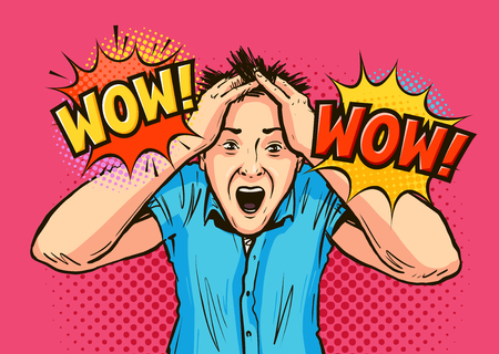 Surprised man grabbed his head with hands. WOW lettering. Vector illustration in pop art retro comic style