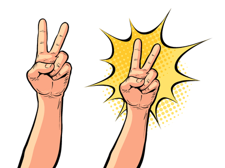 Hand gesture of victory or peace, two fingers up. Vector illustration in pop art retro comic style