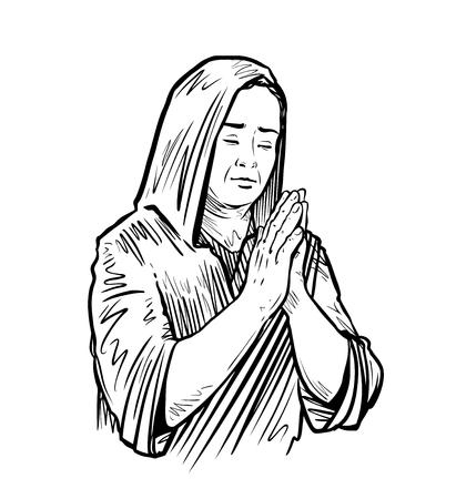 Woman folded her hands for praying sketch vector illustration.
