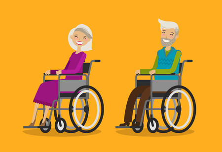 Disabled people in wheelchair. Cartoon vector illustration in flat design.