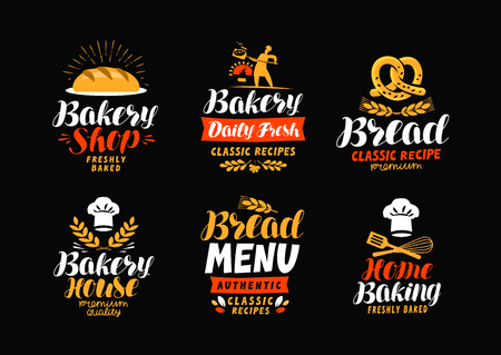 Bakery, bake house icon or label. Bread, home baking icon. Lettering vector illustration.