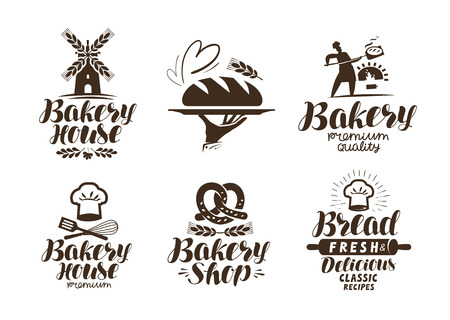 Bakery, bakehouse label or logo. Bread, baked goods, food symbol. Typographic design vector illustration
