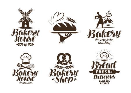 Bakery, bakehouse label or logo. Bread, baked goods, food symbol. Typographic design vector illustration