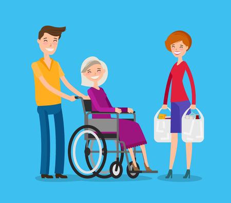 Caregiver, volunteerism. Nursing or care of patients concept. Cartoon vector illustration Illustration