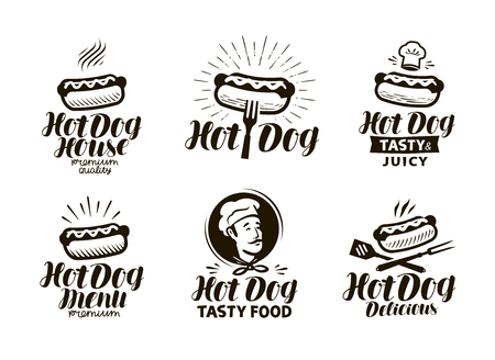 Hot dog logo or label. Fast food, eating emblem. Typographic design vector illustration Stok Fotoğraf - 95439321