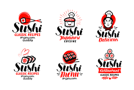 Sushi, sashimi logo or label set. Çizim