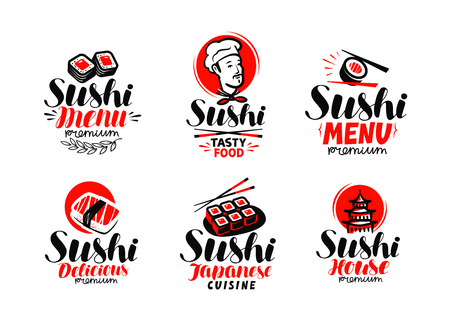 Sashimi, sushi, logo or label set.