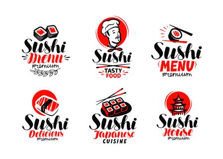 Sashimi, sushi, logo or label set.