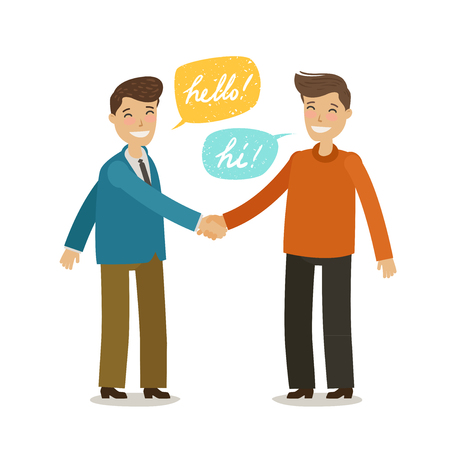Handshake, shaking hands concept. Happy people shake hands in greeting.