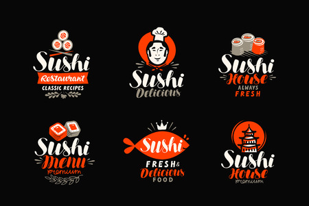 Sushi logo or label. Japanese food, seafood, restaurant typography. Vector illustration Illustration