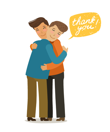 Thank you, hugs banner. Friendly meeting concept. Cartoon vector illustration in flat style Illustration