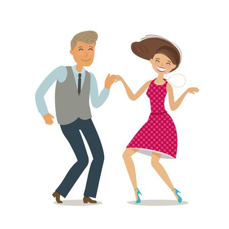 Happy couple dancing dance twist. Cartoon vector illustration in flat style