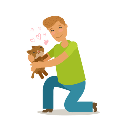 Care for pet. Young man holds a cute stray kitten in his hands. Cartoon vector illustration Illustration