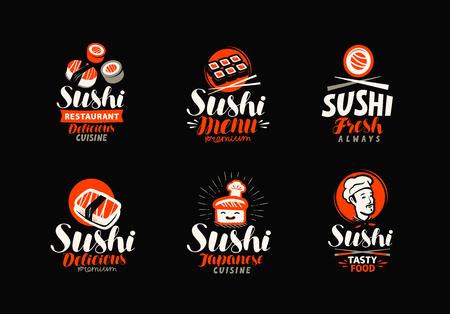 Sushi, rolls, Japanese food set of icons or labels vector illustration. Illustration