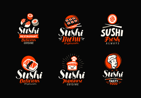 Sushi, rolls, Japanese food set of icons or labels vector illustration. 矢量图像