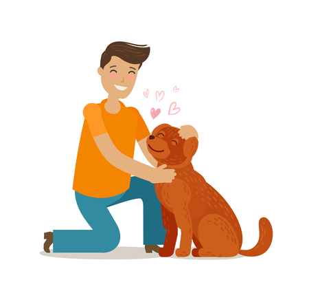 Happy young man with dog. Pet, pooch, doggie concept. Cartoon vector illustration Illustration