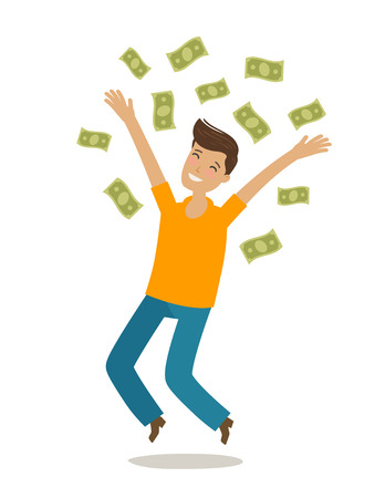Successful rich man. Money, cash winnings, jackpot, earnings concept. Cartoon vector illustration in flat style