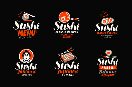 Sushi, sashimi, japanese cuisine icon or label. Set of elements for restaurant menu design. Vector illustration Çizim