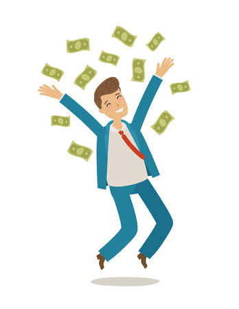 Successful businessman jumps and throws money. Business concept. Cartoon vector illustration 일러스트