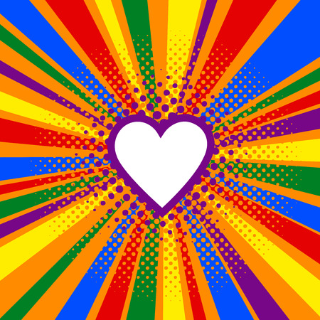 Rainbow or Pride flag. LGBT banner. Vector illustration in pop art retro comic style