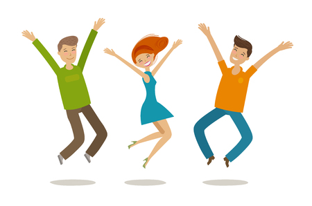 People celebrating. Cartoon vector illustration in flat style