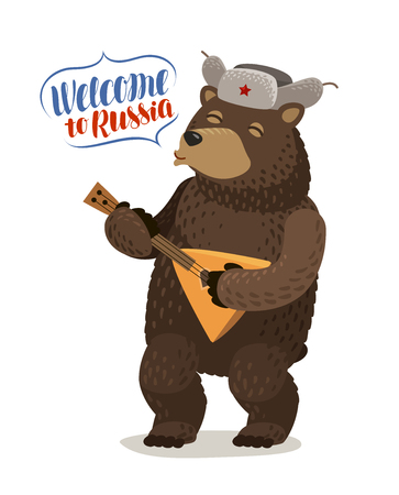 Funny Russian bear in cap with earflaps plays balalaika. Welcome to Russia, lettering vector illustration Illustration