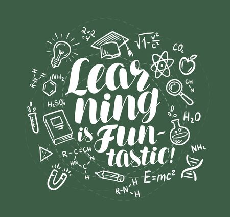 Education, learning banner. Lettering written in chalk on school board. Vector illustration