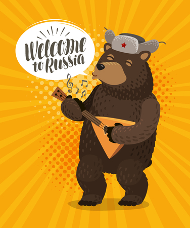 Welcome to Russia banner. Happy Russian bear plays on balalaika.