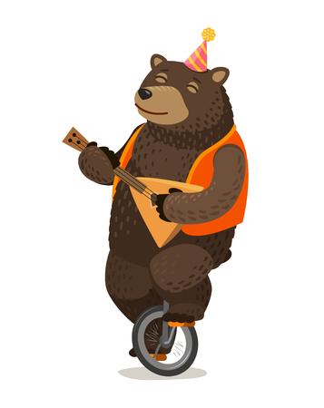 Actuación de circo, Happy bear monta monociclo y juega balalaika. Ilustración vectorial de dibujos animados Ilustración de vector