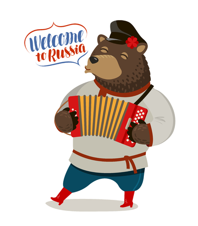 Russian fun bear playing accordion. Welcome to Russia, banner. Cartoon vector illustration Vettoriali