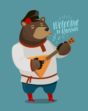 Funny Russian bear plays on balalaika. Russia, Moscow concept. Cartoon vector illustration