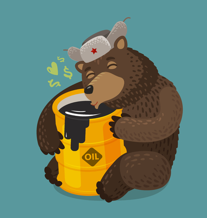 Russian bear hugging barrel of oil. Russia, Moscow concept. Cartoon vector illustration