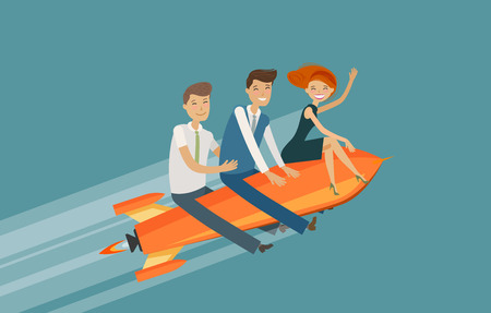 Teamwork, business concept. Success, achievement, development vector illustration.