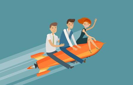 Lavoro di squadra, concetto di business. Successo, successo, illustrazione vettoriale di sviluppo.