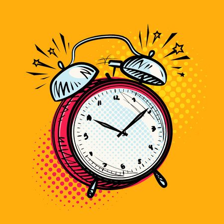 Alarm clock is ringing, wake-up call. Reminder, deadline concept. Vector illustration
