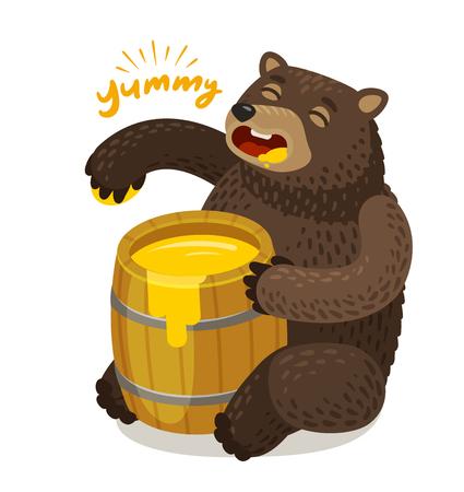 Cute bear eats honey from wooden barrel. Cartoon vector illustration