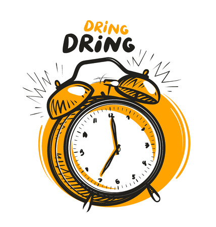 Wake-up call, alarm clock is ringing. Vector illustration