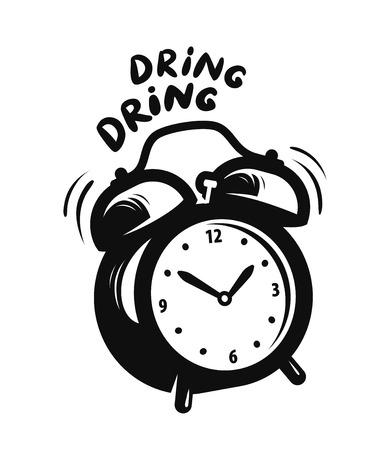 Wake up call, alarm clock is ringing. Deadline icon or symbol vector illustration.
