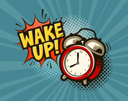 Wake up banner. Alarm clock in pop art retro comic style. Cartoon vector illustration