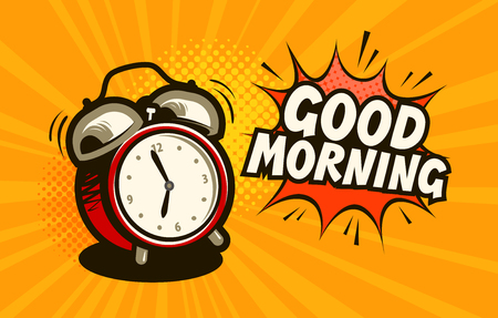 Buenos dias estandarte. Reloj despertador, concepto de hora de despertarse. Ilustración vectorial de dibujos animados Ilustración de vector