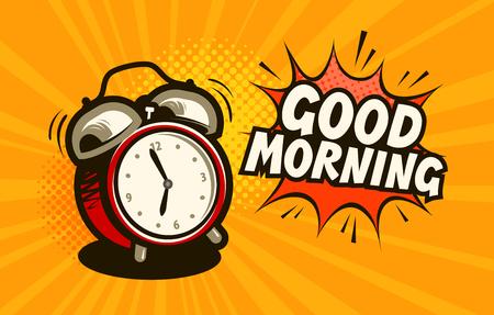 Goedemorgen, banner. Wekker, wektijd concept. Cartoon vectorillustratie Vector Illustratie