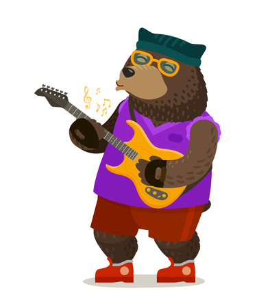 Bear playing electric guitar. Music, rock and roll, musical festival concept. Cartoon vector illustration