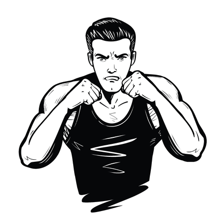 Aggressive fighter with fists. Fight, battle, combat concept. Sketch vector illustration