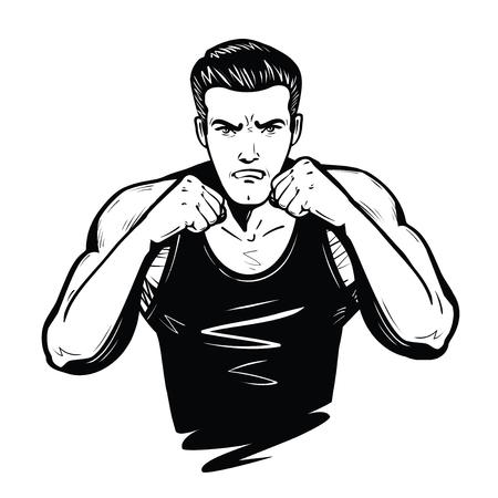 Combattente aggressivo con i pugni. Lotta, battaglia, concetto di combattimento. Illustrazione vettoriale di schizzo Archivio Fotografico - 96502613