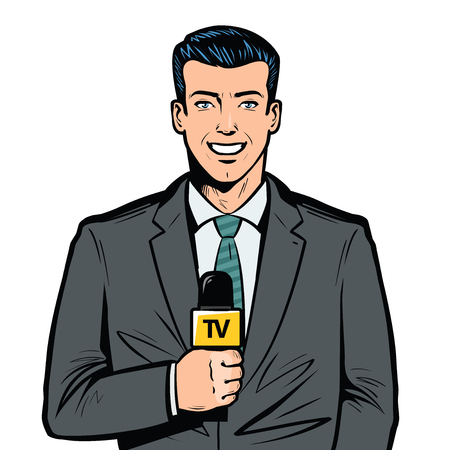 TV presenter with microphone in hand. Breaking news, broadcast concept. Pop art retro vector Vettoriali