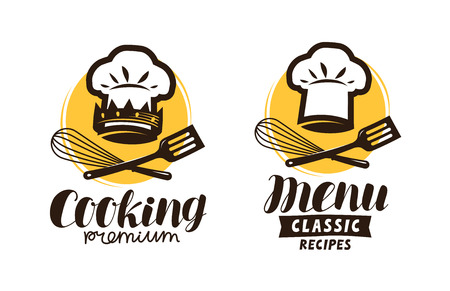 Cooking, cuisine logo. Label for restaurant or cafe menu. Vector illustration Illustration