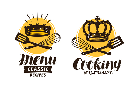 Cooking, cuisine icon, label for restaurant or cafe menu vector illustration.