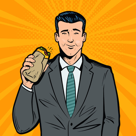 Businessman eating delicious sandwich. Lunch break, fast food concept. Pop art retro vector illustration