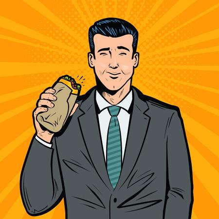 Businessman eating delicious sandwich. Lunch break, fast food concept. Pop art retro vector illustration