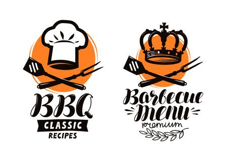 BBQ, barbecue logo or label. Element for restaurant menu design. Food vector illustration Stock Illustratie